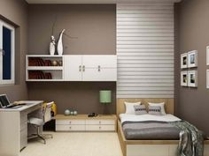 Grey Modern Minimalist Teenage Girl Bedroom Design