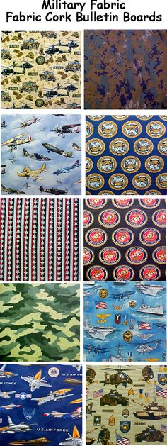 FABRIC CORK BULLETIN BOARDS. Just an example of some fabrics available in subcategory MILITARY at www.PushPinsAndFabricCorkBoards.com  to make a custom, unique BULLETIN BOARD to match your decor or as a gift to someone. Boards are available in four standard sizes, with or without message ribbons and top it off with matching or DECORATIVE PUSH PINS in the Decorative Push Pins department. #fabriccorkbulletinboards #decorativepushpins  #military #AirForce #Marines #Navy #Army #supportourtroops