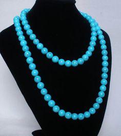 Superb 54inch Chinese Tibet Peacock Blue Veins Jade Gemstone Bead Long Necklace