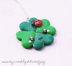 Kawaii Lucky Clover and Ladybird Polymer Clay by CharmsByIzzy.deviantart.com on @deviantART