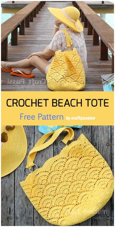 Crochet Beach Bags, Crochet Tote, Crochet Purses, Crochet Crafts, Crochet Hooks, Crochet Projects, Knit Crochet, Crochet Stitches Free, Crochet Blanket Patterns