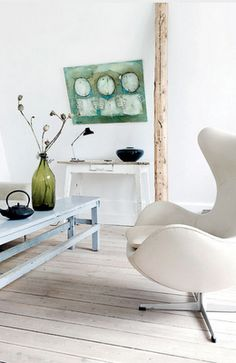 white  + wood elements + pops of cool colors ~