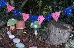 garden ideas, fairies, fairi garden, mini bunt, garden mini, mini fairi, buntings, mini gardens, sun hat