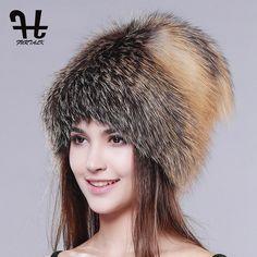 FURTALK women winter fur hat genuine fox fur hats knitted silver fox fur  caps female russian d3afdc4b6b