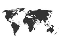 Simplified silhouette of world map vector illustration Stock Vector
