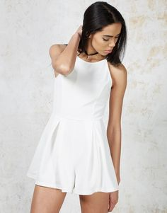 GO MINIMAL in the 'Diaz' pure white bodycon playsuit #playsuit #babe #