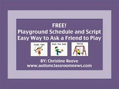 Autism Classroom News: http://www.autismclassroomnews.com    Free Playground Schedule: Increasing Engagement at Recess by Autism Classroom News: http://www.autismclassroomnews.com