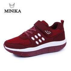 low priced f1065 34299 US  22.49 54% OFF New Women Big Size Red Breathable Mesh Sneakers On The  Platform Fitness Shoes Minika Schuhe Zapatos Deportivos Jump Shoes  Fitnes-in Toning ...