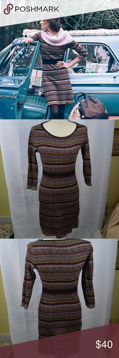 Sparrow Clara Sweater Dress Fair Isle Wool Blend M How gorgeous! This knit sweater dress from Sparrow (Anthropologie) is a wool blend fair isle striped beauty sure to keep you warm in the chilly winter months! Pair with riding boots for a super cute outfit! ~Women's Size Medium Feel free to ask questions! Anthropologie Dresses Mini