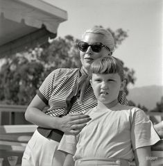 """Santa Barbara, 1951. """"Actress Lana Turner and daughter Cheryl Crane."""" Who, seven years after this picture was snapped, had a fatal run-in with her mother's gangster boyfriend. Photo by Earl Theisen for Look magazine."""
