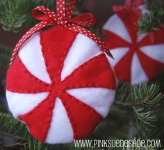 My favorite idea for a peppermint ornament! I can't wait to see my red & white tree this year.