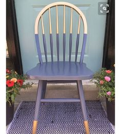 Modern way to update country style dining chairs with colour blocking…