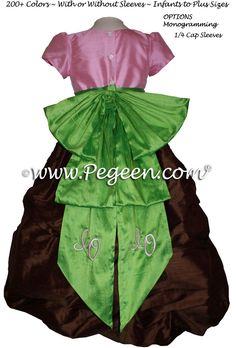 Brown, pink and green monogrammed flower girl dresses in silk