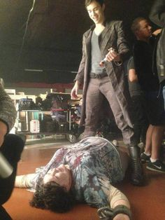 """Dominion BTS They have behind the scenes. Here Tom Wisdom prepares to kill """"Fat Momma"""". They seem to be enjoying themselves."""