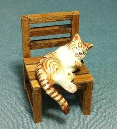 Miniature Ceramic Cat Kitty Sleeping On Wooden by thaicraftvillage