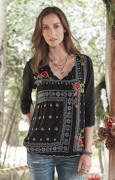 Midnight Garden Top - charmingly folksy, embroidered scoop neck top.