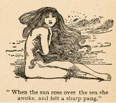 Fairy tales of Hans Andersen (1908)illustrated by Helen Stratton  'When the sun arose over the sea she awoke, and felt a sharp pang'