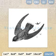 Digital Printable Flying Birds Graphic Bird by VintageRetroAntique