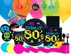 80's theme cups, plates and streamers