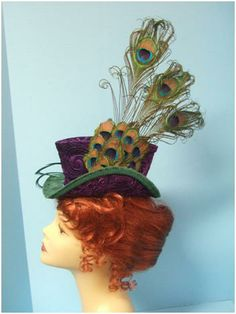 A pattern on how to make the trilby style hat. Steampunk Top Hat, Steampunk Wedding, Steampunk Costume, Steampunk Fashion, Top Hats For Women, Purple Peacock, Peacock Print, Peacock Feathers, Fascinator Hats