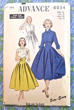 Advance 6034 Vintage 1950s Womens Two Piece Dress by Fragolina, $16.00 Rockabilly Fashion, 1950s Fashion, Vintage Fashion, Retro Pattern, Vintage Sewing Patterns, Fashion Sewing, Diy Fashion, Mode Inspiration, Fashion Inspiration