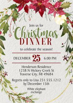 Holly Christmas Invitations – Announce It! Christmas Lunch, Holly Christmas, Christmas Time, Christmas Ideas, Vintage Christmas, Elegant Christmas, Christmas Recipes, Beautiful Christmas, Christmas Dinner Invitation