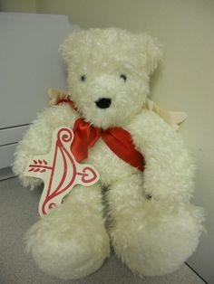 """Hallmark Valentine's Day Bear Cupid Angel White Mohair Teddy Bear - 14""""tall"""
