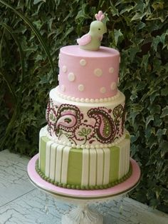 a cake with a paisley pattern on it