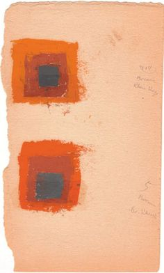 Oil on blotting paper - Josef Albers (1888-1976) Two Color Studies for Homage to the Square, not dated,  24.7 x 14.6 cm, © 2012 The Josef and Anni Albers Foundation / Artists Rights Society New York, Digital Image by Iminv. no. 1976.2.1517.