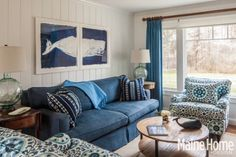 Large whale print over sofa in a Maine Home.