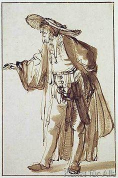 Harmensz van Rijn Rembrandt - Actor with a Broad-rimmed Hat