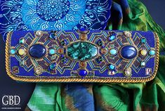 Samarkand.  Clutch, skillfully embroidered with beads, combined with luxurious natural stones and Swarovski crystals FOR SALE