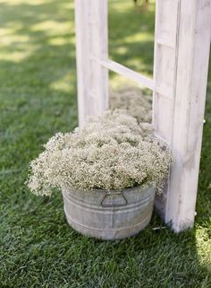 baby's breath in a galvanized bucket