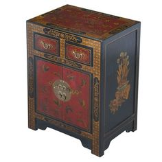 EXP Décor Handmade Oriental Antique Style Black Leather End Table With Nature Motifs