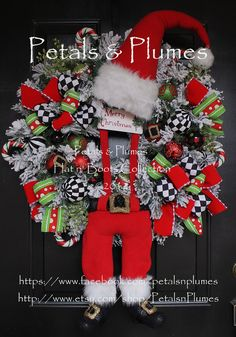 """PRE-ORDER for """"2014"""" DELIVERY Item-Christmas Wreath- Black White Check Suspender Santa""""(See Production time) Petals & Plumes Original Design... $449.00"""