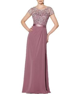 Ankang Women's Cap Sleeve Lace Prom Dress Chiffon Mother of the Bride Dress Mauve US8