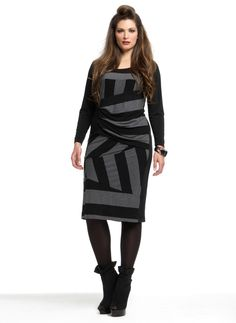 Jurk Mat brede streep/ draperie tail :: jurken :: Grote maten - mode online | Gratis verzendig | Bagoes fashion