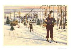 Ski Tow on Rib Mountain, Wausau, Wisconsin Prints - AllPosters.co.uk