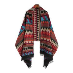 Multicolor Geometric Print Fringe Scarve ($20) ❤ liked on Polyvore featuring accessories, scarves, multi colored scarves, colorful scarves, fringe scarves, fringed shawls and colorful shawl
