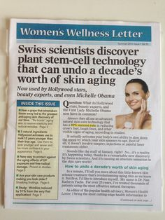 I like this headline - big benefit and credibility in one. Swipe File, Womens Wellness, Stem Cells, A Decade, Michelle Obama, Copywriting, Hollywood Stars, Benefit, Lettering