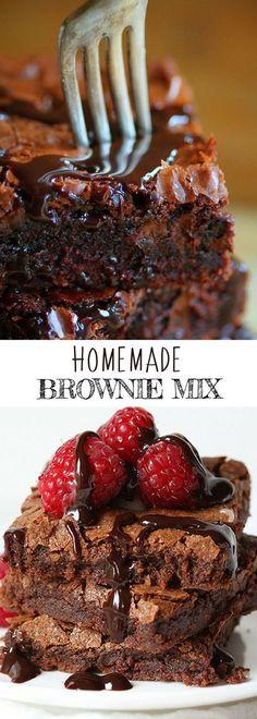 HOMEMADE BROWNIE MIX   Dessert Recipes for Kids   #iambaker