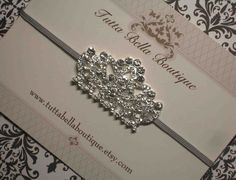 Silver Jeweled Crown Headband Rhinestone by TuttaBellaBoutique