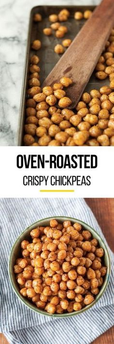 Healthy Oven Roasted Crispy Chickpeas. Believe it or not, this homemade snack is VEGAN! Looking for recipes to squash your cravings? This protein rich snack is it! Loaded up with seasonings, they're delicious for kids or adults. Easy to make too!