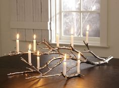 Gilded branch centerpiece -- Very pretty, but would need to think of a creative way to catch the wax to be effective.