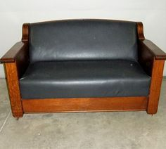 1905 15 Empire Mission Style Quartersawn Oak Sofa Murphy Antique Bed Couch Morris Chair