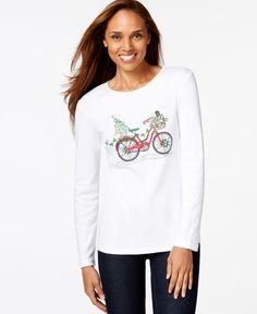 Karen Scott Holiday Bike Long-Sleeve Top, Only at Macy's