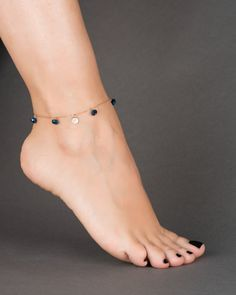 Everyone loves the blue skies and deep blue seas during the summer, and there is no better way to match it with our cute and colorful personalized blue ankle bracelet. We made our ankle bracelet available in gold filled, rose gold filled and sterl Beautiful Toes, Pretty Toes, Cute Toes, Ankle Jewelry, Ankle Bracelets, Bracelet Initial, Initial Jewelry, Foot Pics, Beach Anklets