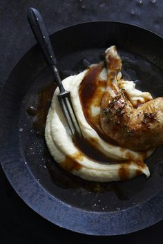 // Lemon roast chicken with parsnip puree