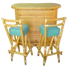 Vintage Rattan Tiki Bar And Stools | From a unique collection of antique and modern dry bars at https://www.1stdibs.com/furniture/storage-case-pieces/dry-bars/