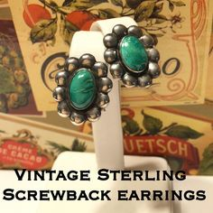 """Vintage Sterling  Screwback Turquoise Earrings These are stunning vintage Sterling silver flower turquoise screw back earrings. Marked Sterling. Measures a little over .75"""" long & .75"""" wide. These are in great vintage condition & have not been cleaned due to age. I will leave that up to the person who purchases them to clean them if they desire to. Would make a great addition to any jewelry collection! ❣Thanks for stopping by! Please make REASONABLE offer using the offer feature only. I ship…"""